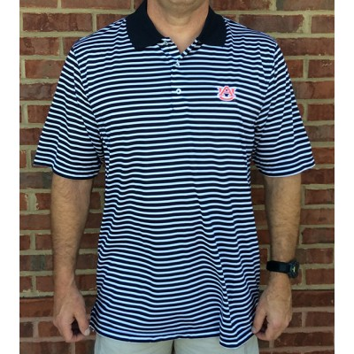 Navy Logo Stripe Polo