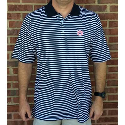 Navy Logo Stripe Polo