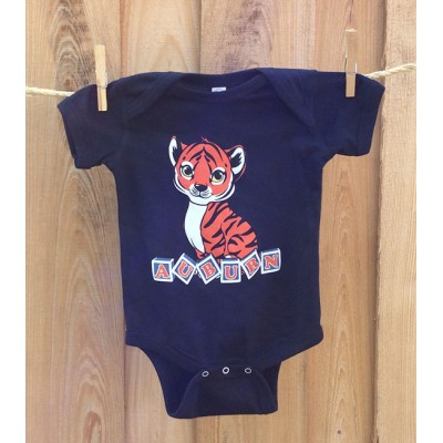 Tiger Blocks Navy Onesie