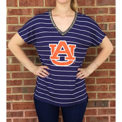 AU V-Neck Stripe Top