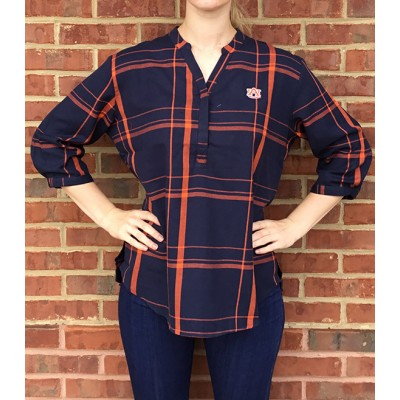 Navy Plaid Tunic Top