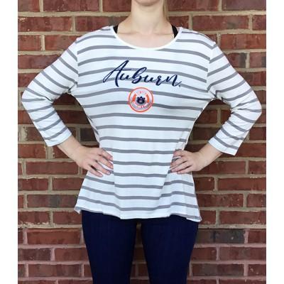 Auburn Stripe Peplum Top