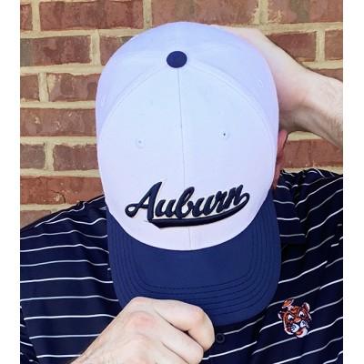 Script Auburn White Cap